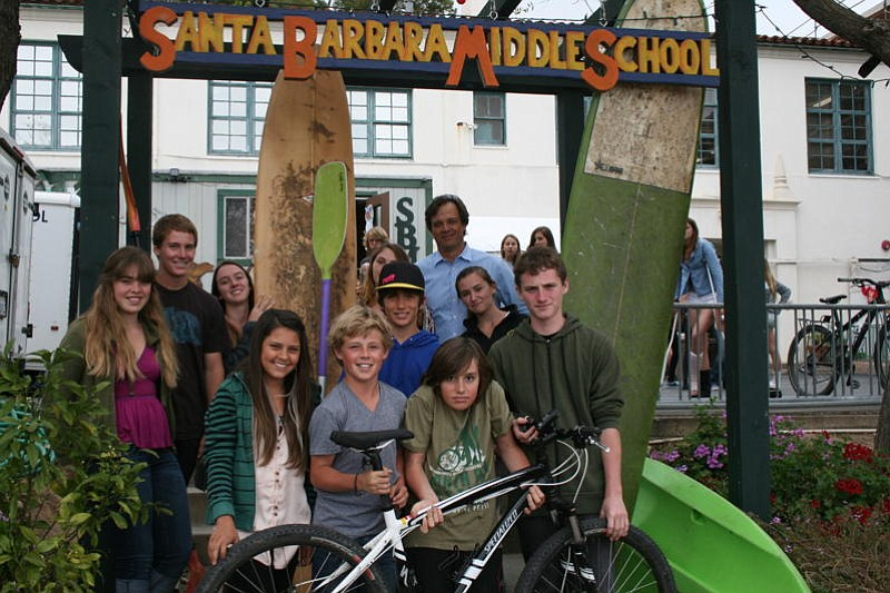 SBMS Head of School Brian McWilliams (back right) and a group of students