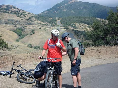 Mike Postma hops on his bike for the last leg of the Gaviota Ocean Canyon Ridge Endurance Challenge.
