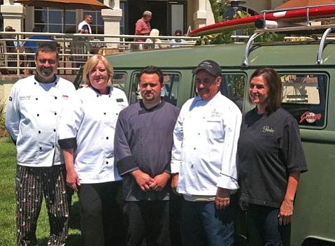 "From left: Chefs Stephen Walls, Willie Vey, Casey Walcott, José Garcia, and Pandee Pearson will serve up some fine food, paired with great beers, at the ""Brew Masters Dinner"" next weekend as part of the Wine, Waves, and Beyond fest."