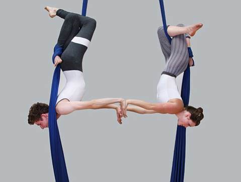 """Russ Glick, age 17, and Sophia Phillips, age 15, in their original aerial performance """"Las Nubes."""""""