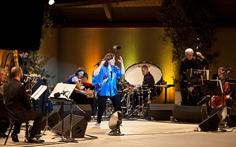 """Dawn Upshaw (center), onstage with chamber orchestra eighth blackbird for the """"First Blast"""" gala reopening of the Libbey Bowl, the site of this year's Ojai Music Festival."""