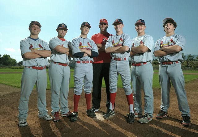L to R David Foster, Jimmy Brakka, Gabe Speier, Derron Spiller (coach), Johnny Brontsema, John Salda, and Jack Gregson.