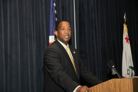 Los Angeles' United States Attorney Andre Birotte, speaking at the Orange County District Attorney's Office during National Crime Victims' Rights Week in April of 2011.