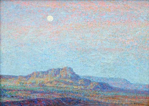 "Moonrise at the Mesa"" (1910) by Birger Sandzen."