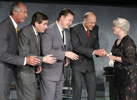 Bob Blackford, Leo Postel, Sean Jackson, Tom Hinshaw and Linda MacNeal in SBCC Theatre Group's production of <em>The Solid Gold Cadillac</em>.