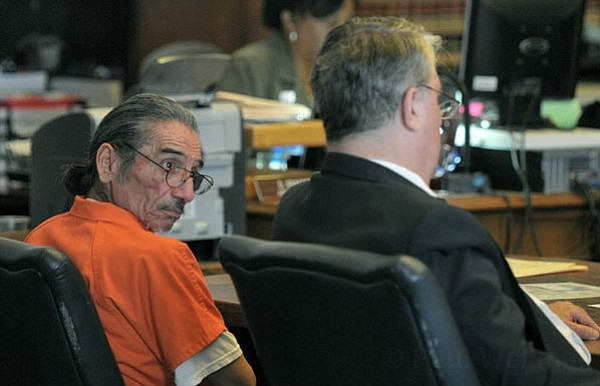 Samuel Joseph Martinez, sentenced to 14 years to life after a jury found him guilty of beating and torturing a homeless woman, sits with defense attorney Joe Allen -- July 25, 2011