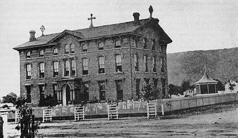 Rebuilt to three stories, the St. Vincent's Orphanage building at its De la Vina address, to which the sisters move in 1871.