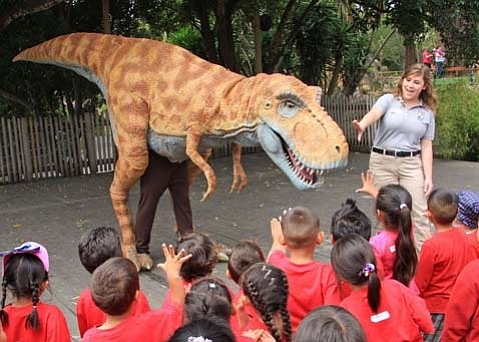 S.B. Zoo Presents a new thrice-daily <em>How to Train Your Dinosaur</em> show every day until Labor Day.