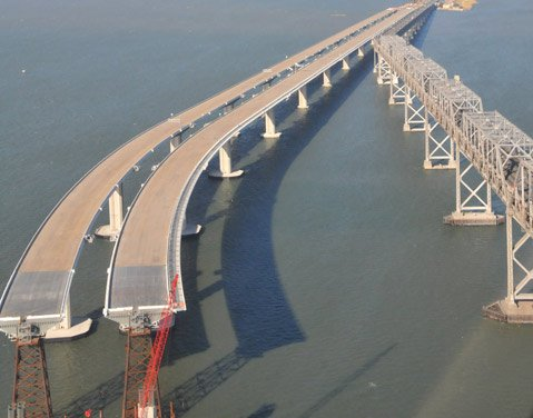Work being done on the San Francisco-Oakland Bay Bridge
