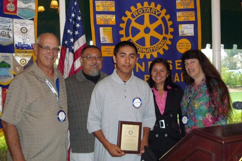 FROM LEFT: Bill Boyd, Rotary Past-President; Ed Torres, Teacher; Cristian Catalan, Student of the Month; Marisol Catalan, student's mother; Susan Klein-Rothschild, Rotary Member.