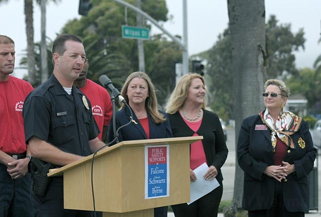 The police officers and firefighters unions dropped a well-crafted political bombshell on the futures of the three conservative incumbents by endorsing challengers (from left) Iya Falcone, Sharon Byrne, and Deborah Schwartz. The unions say their endorsees are committed to public safety. The incumbents say the unions are focused on future paychecks.