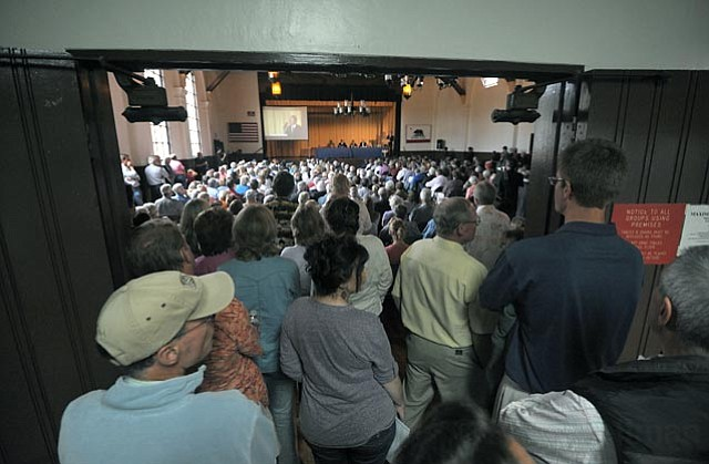 <strong>EN MASSE:</strong>  Several hundred people, concerned about what the Chumash have planned for the 1,390-acre Camp 4 property, showed up to a town hall meeting last Friday. The Chumash say there are no plans for a casino, just for housing.