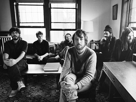 Fleet Foxes are (from left to right) Casey Wescott, Skyler Skjelset, J. Tillman, Robin Pecknold, Morgan Henderson, and Christian Wargo.