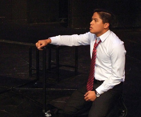 Julian Remulla as the conflicted government official Angelo in UCSB's new production of Shakespeare's <em>Measure for Measure</em>.