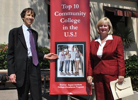 Dr. Jack Friedlander, SBCC Acting Superintendent/President, and Kathy Molloy, SBCC Professor of English/English Skills and Project Director for the Express to Success Program, spoke at the college's celebration for being named an Aspen finalist.