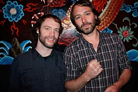 Tour mates Matt Pond (right) and Rocky Votolato.