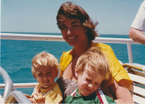 Beth Wood, on open water with her sons, David and John, early 1980s.