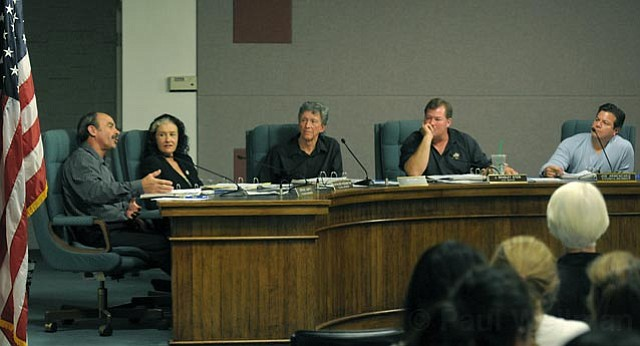 Carpinteria City Council at Monday's meeting during which a unanimous vote was taken to ban all single-use bags. From left to right: Gregg Carty, Kathleen Reddington, Al Clark, Brad Stein, and Joe Armendariz