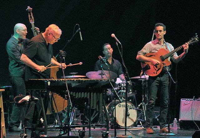 Gary Burton's New Quartet: (from left) Scott Colley, Burton, Antonio Sanchez, and Julian Lage.