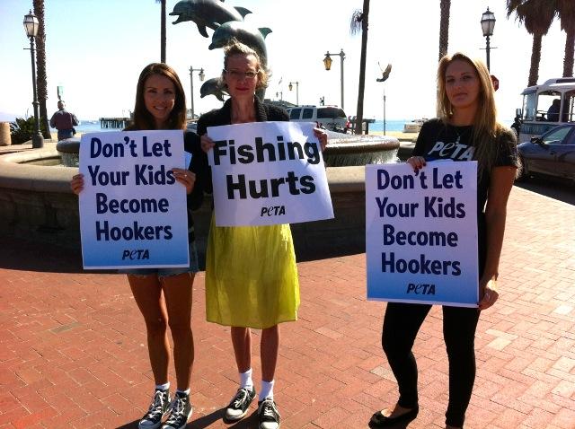 Peta s anti fishing protest passes through santa barbara for Santa barbara fishing report