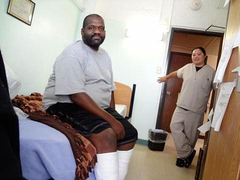 Curtis Jasper and Dee Saupan at the JWCH Institute's Recuperative Care Program in L.A.