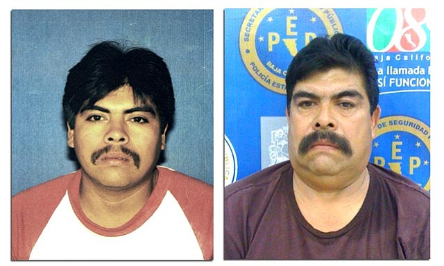Left: Photo of Miguel Godoy Morales taken in Santa Barbara on May 6, 1983. Right: Booking photo of Morales taken October 12, 2011