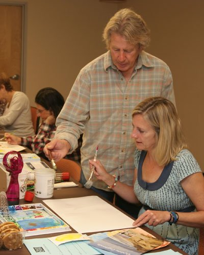 Rick Stich and an art class participant