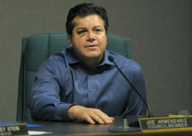 <strong>BATTERED AND CONTRITE:</strong>  With bruising on his face from an alleged DUI crash on December 2, Carpinteria City Councilmember Joe Armendariz addressed the public during the City Council's meeting on Monday.