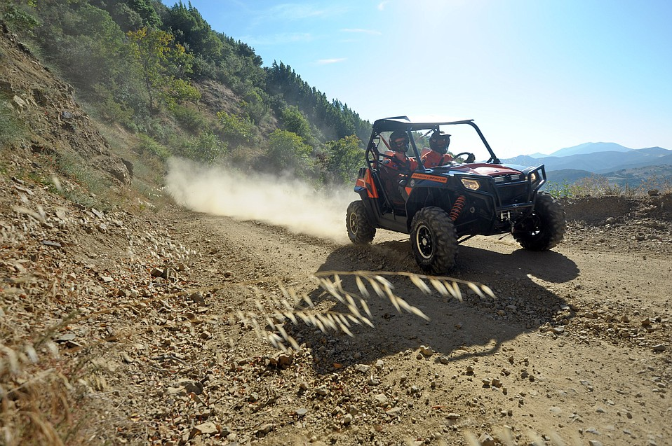 Members of the Santa Barbara Search and Rescue Team in one of their off-road ATVs.