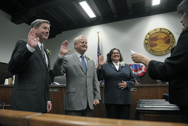 From left to right: Santa Barbara City Councilmembers Dale Francisco, Randy Rowse, and Cathy Marillo at their swearing-in ceremony
