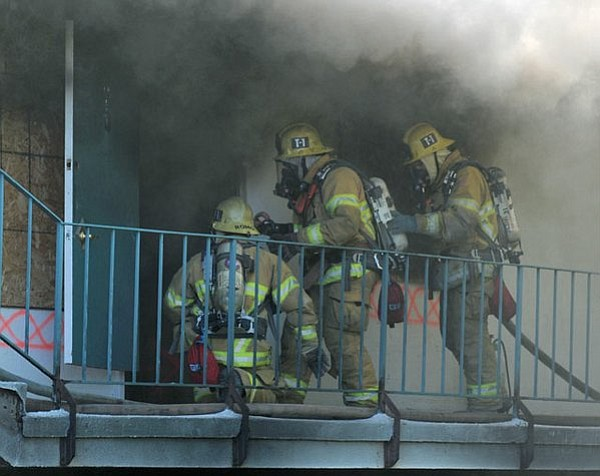 Jan. 13, 2012 Santa Barbara City Fire Department conducts training exercises at 512 Bath Street in an apartment complex slated for demolition.