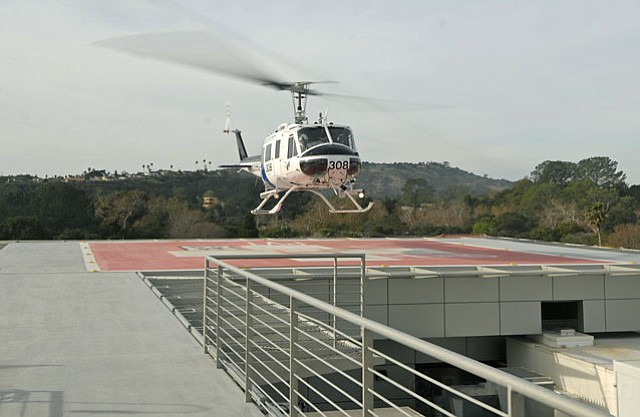 Cottage Hospital tests its new helipad with County Fire choppers on January 11
