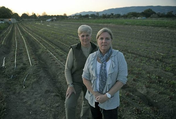 Terri Ortega and Barbara Kloos (right, the author) have been fighting to protect open space during the drafting of the Eastern Goleta Valley Community Plan.