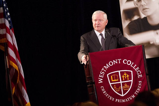 Robert Gates speaks during the annual President's Breakfast hosted by Westmont College