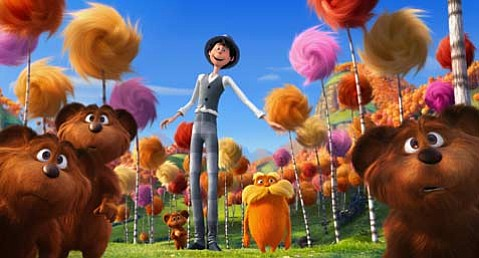 Danny DeVito lends his voice to the diminutive, tree-loving title character of <em>Dr. Seuss' The Lorax</em>.