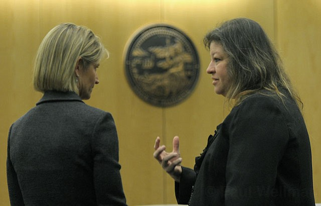 Prosecuting attorney Paula Waldman (left) and defense attorney Deedrea Egar (right)