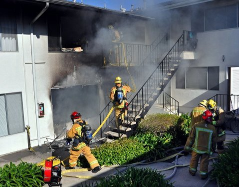 Apartment fire at 7620 Cathedral Oaks Road in Goleta