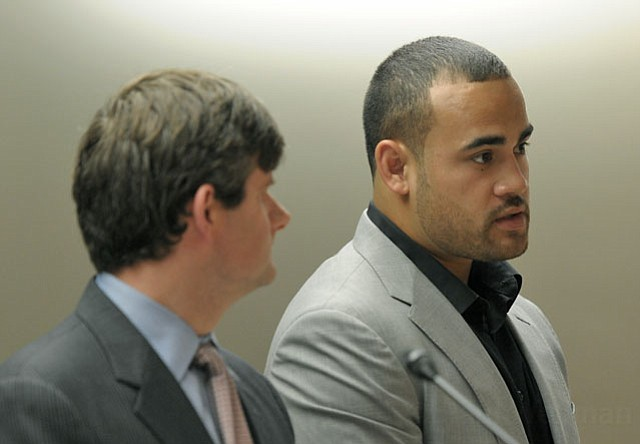 Koa Misi, with attorney Adam Braun, in Santa Barbara Superior Court (April 20, 2012)