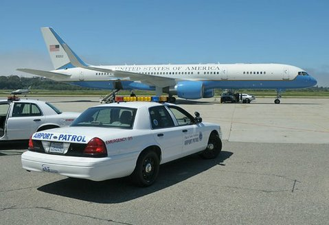 Air Force Two still parked after it hit a bird during Thursday night's landing (April 20, 2012)