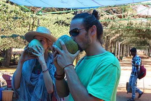 Coconut water break for the yogis