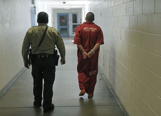An inmate is moved to a different housing unit within the Santa Barbara County Jail