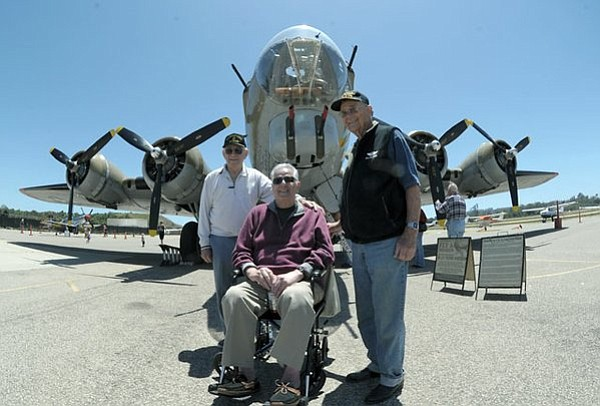 L to R WWII veterans George Glass, Jack Nadel, and Gus Polasek pose in front of a B-17 at the Wings of Freedom exhibit at the Santa Barbara Airport (May 14, 2012)