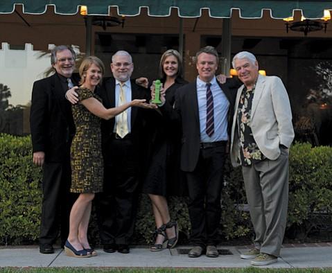 from left:  Judges Tom Jacobs, Elizabeth Schwyzer, Philip Brandes, Starshine Roshell, Charles Donelan, and Barney Brantingham