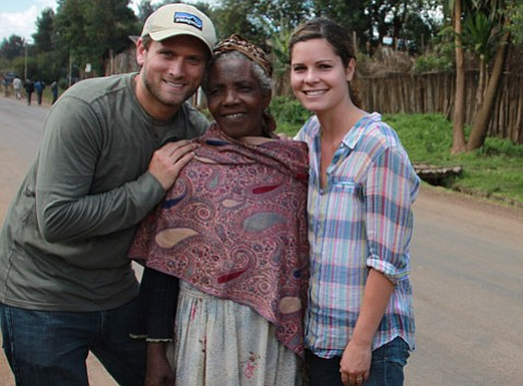 Ian and Brittany Bentley in Ethiopia meeting with a woman who helped care for their daughter Selah.