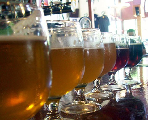 A selection of beer at New Belgium brewery in Fort Collins, CO