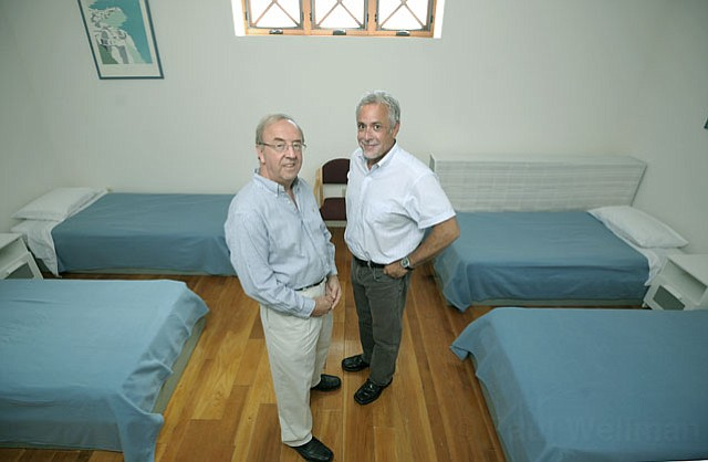 Wim Verkaik, CADA Director of Administration (left) and Rob Pearson, Santa Barbara Housing Authority Executive Director in the new location for CADA's Project Recovery Detox Program (July 2, 2012)