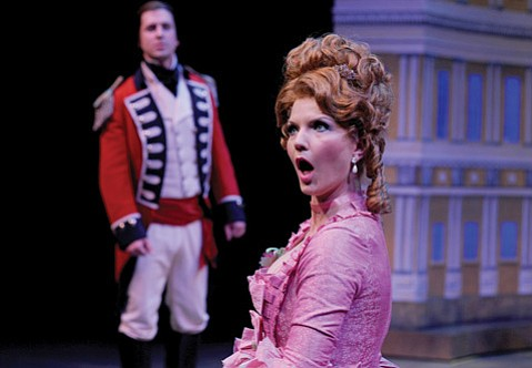 Quinn Mattfeld stars as Captain Jack Absolute and Stephanie Philo stars as Lydia Languish in PCPA's <em>The Rivals</em>.