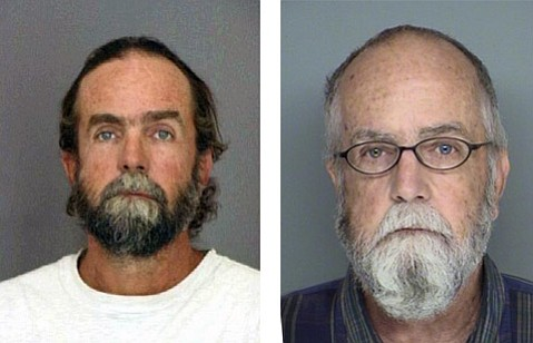 Jeffrey Parish's booking photo in 1994 (left) and his booking photo on July 17, 2012