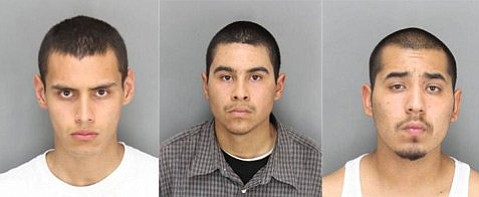 Left to right: Richard Soto, Robert Anthony Aldaz, and Juan Carlos Villa. (Booking photos currently unavailable for Juan Maldonado and Richard Pineda.)