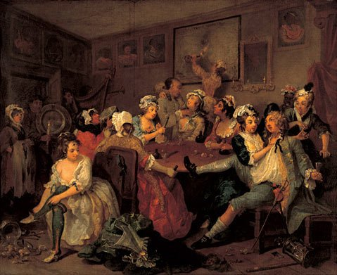 """The third in a series of eight paintings by 18th century artist William Hogarth collectively called """"The Rake's Progress"""", which served as inspiration for Igor Stravinsky's opera by the same name."""
